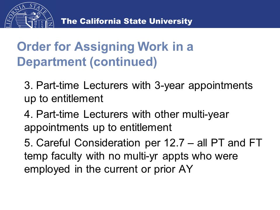 Order for Assigning Work in a Department (continued) 3.