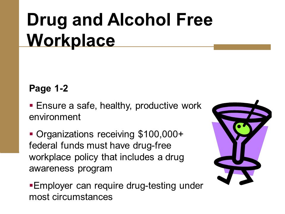 Page 1-2  Ensure a safe, healthy, productive work environment  Organizations receiving $100,000+ federal funds must have drug-free workplace policy that includes a drug awareness program  Employer can require drug-testing under most circumstances Drug and Alcohol Free Workplace