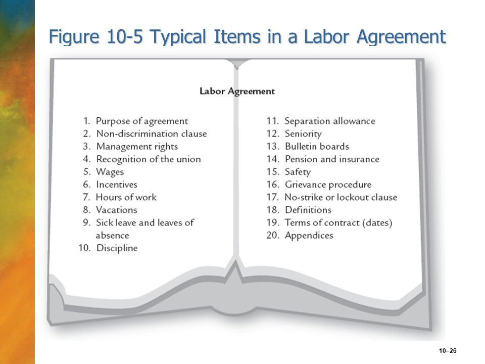 10–26 Figure 10-5 Typical Items in a Labor Agreement