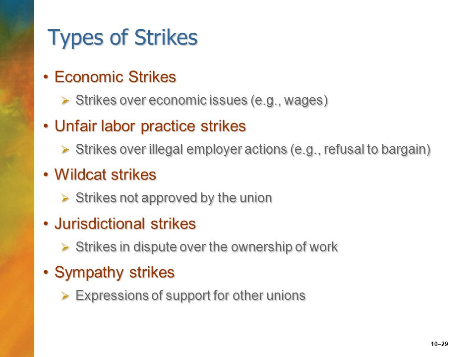 10–29 Types of Strikes Economic StrikesEconomic Strikes  Strikes over economic issues (e.g., wages) Unfair labor practice strikesUnfair labor practice strikes  Strikes over illegal employer actions (e.g., refusal to bargain) Wildcat strikesWildcat strikes  Strikes not approved by the union Jurisdictional strikesJurisdictional strikes  Strikes in dispute over the ownership of work Sympathy strikesSympathy strikes  Expressions of support for other unions
