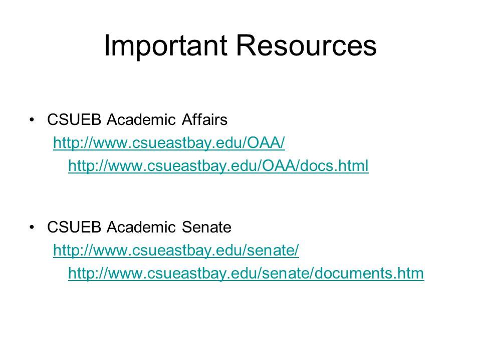 Important Resources CSUEB Academic Affairs http://www.csueastbay.edu/OAA/ http://www.csueastbay.edu/OAA/docs.html CSUEB Academic Senate http://www.csueastbay.edu/senate/ http://www.csueastbay.edu/senate/documents.htm