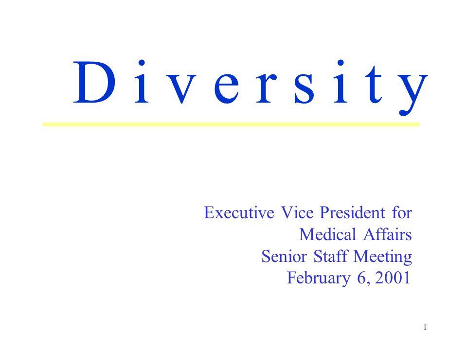 1 Executive Vice President for Medical Affairs Senior Staff Meeting February 6, 2001 D i v e r s i t y