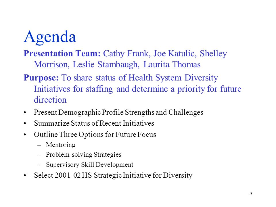 3 Agenda Presentation Team: Cathy Frank, Joe Katulic, Shelley Morrison, Leslie Stambaugh, Laurita Thomas Purpose: To share status of Health System Diversity Initiatives for staffing and determine a priority for future direction Present Demographic Profile Strengths and Challenges Summarize Status of Recent Initiatives Outline Three Options for Future Focus –Mentoring –Problem-solving Strategies –Supervisory Skill Development Select 2001-02 HS Strategic Initiative for Diversity