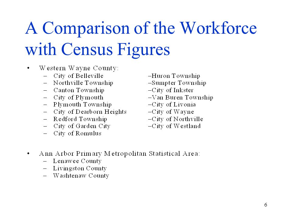 6 A Comparison of the Workforce with Census Figures