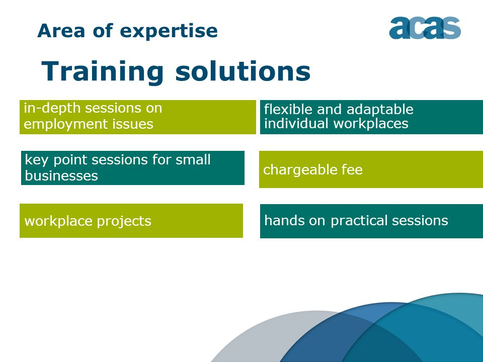 Area of expertise Training solutions workplace projects key point sessions for small businesses in-depth sessions on employment issues flexible and adaptable individual workplaces chargeable fee hands on practical sessions