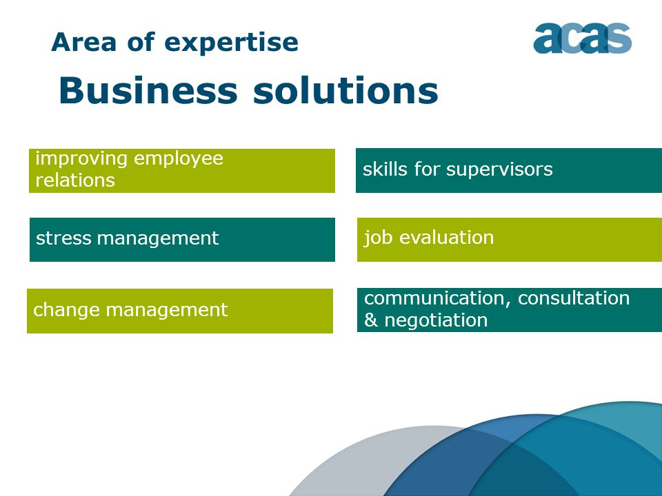 Area of expertise Business solutions improving employee relations job evaluation stress management skills for supervisors change management communication, consultation & negotiation