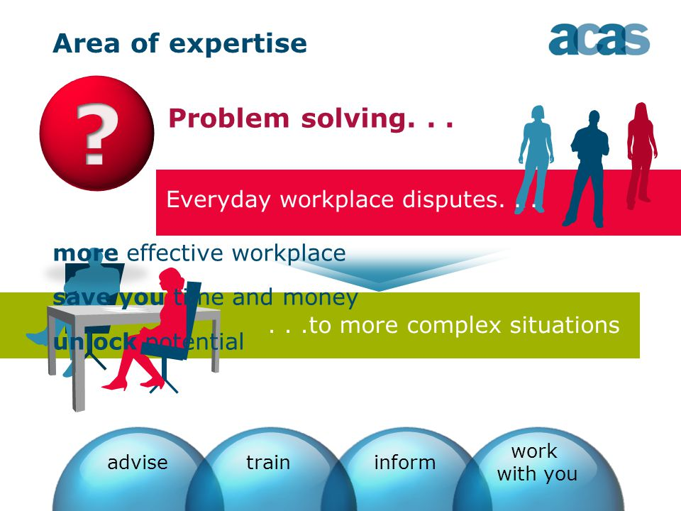 Area of expertise Problem solving......to more complex situations adviseinform work with you train Everyday workplace disputes...