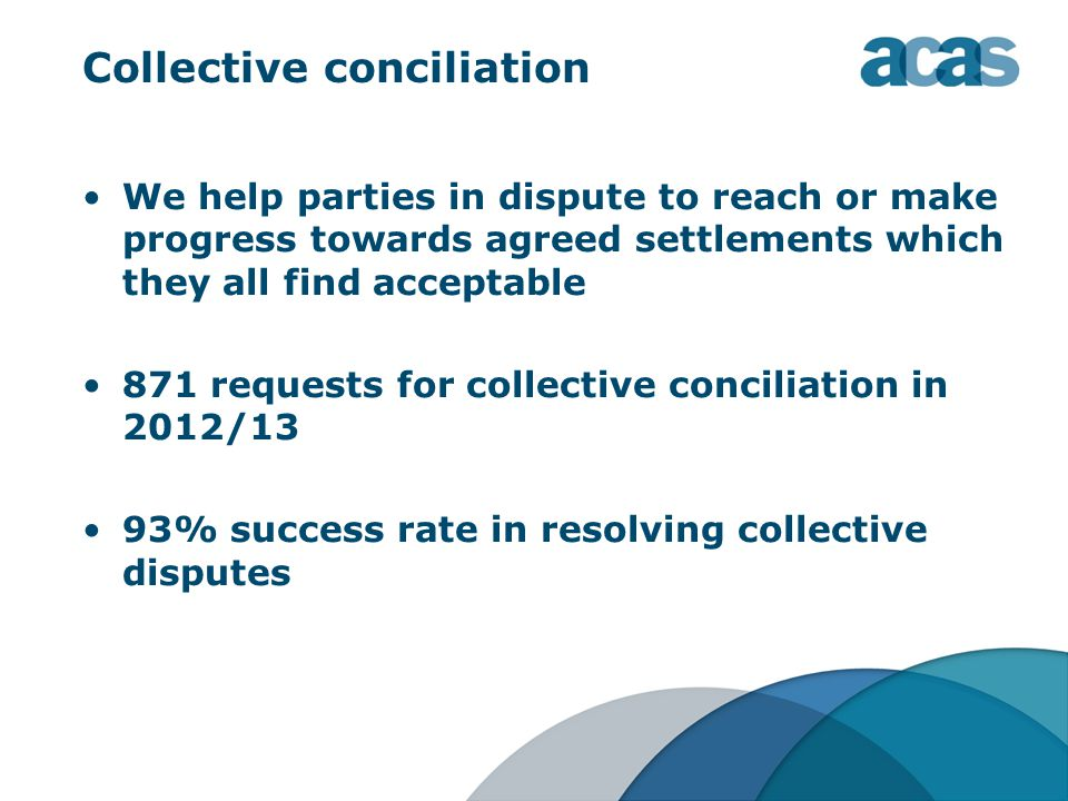 Collective conciliation We help parties in dispute to reach or make progress towards agreed settlements which they all find acceptable 871 requests for collective conciliation in 2012/13 93% success rate in resolving collective disputes