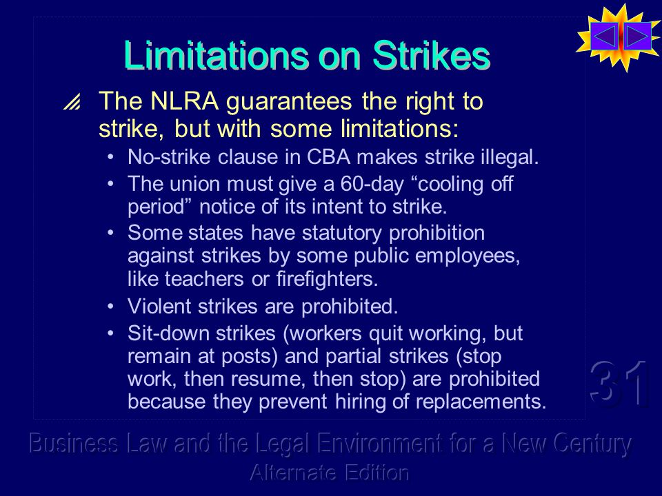 Limitations on Strikes  The NLRA guarantees the right to strike, but with some limitations: No-strike clause in CBA makes strike illegal.