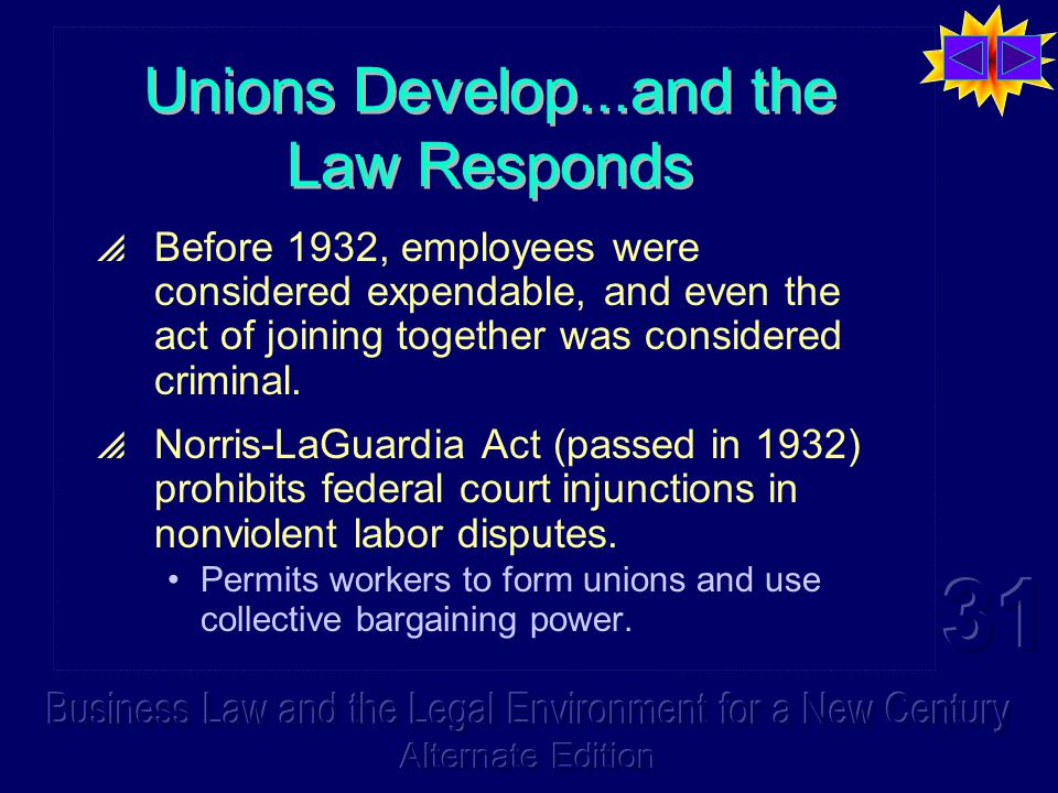 Unions Develop...and the Law Responds  Before 1932, employees were considered expendable, and even the act of joining together was considered criminal.