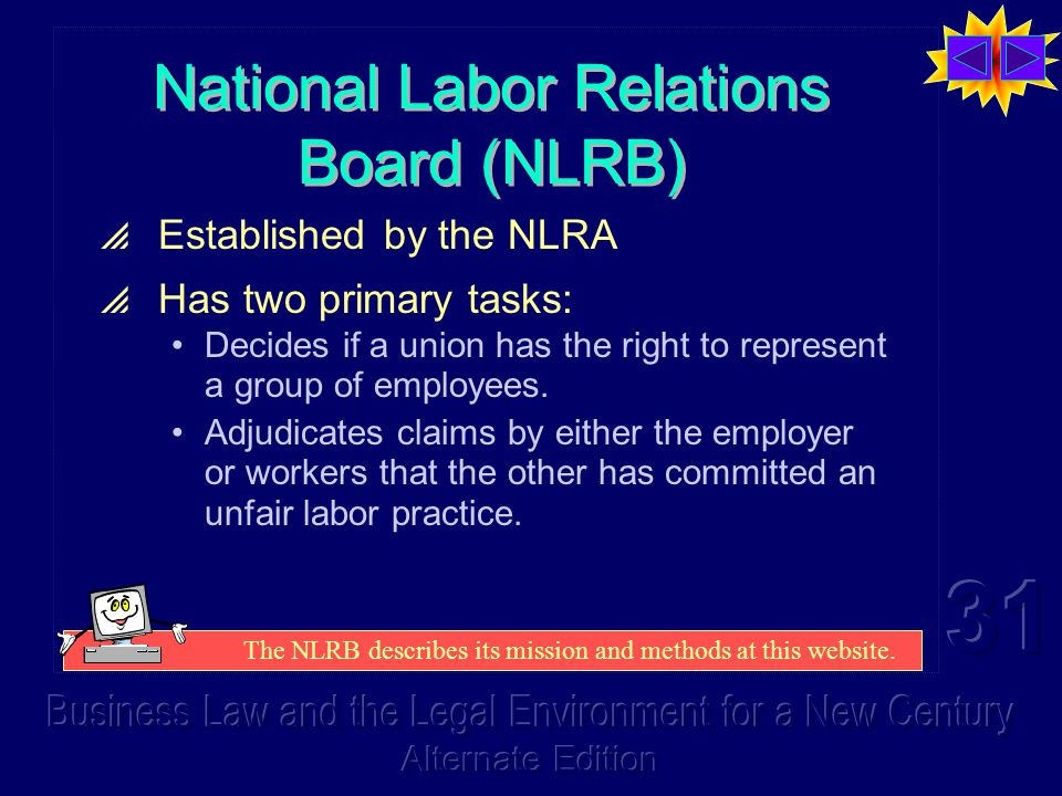 National Labor Relations Board (NLRB)  Established by the NLRA  Has two primary tasks: Decides if a union has the right to represent a group of employees.