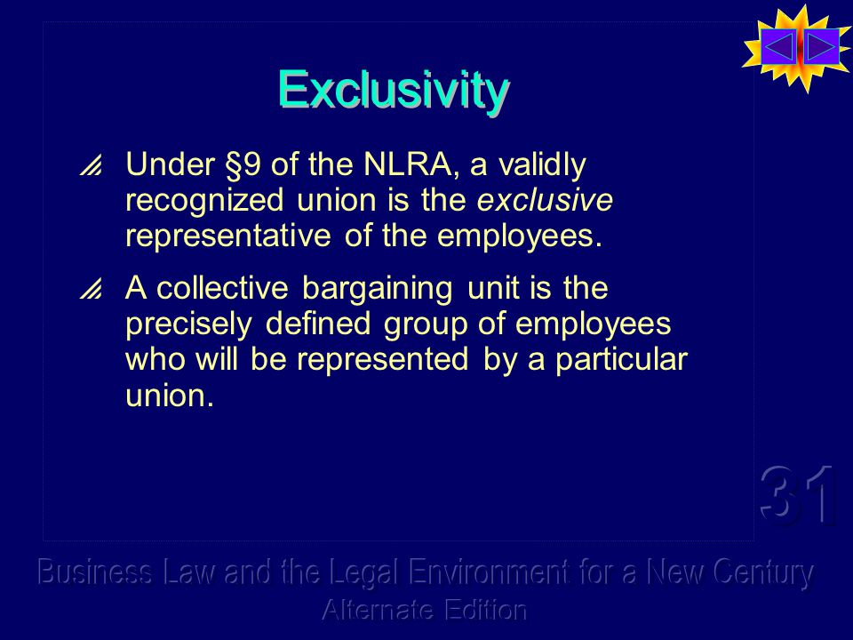 Exclusivity  Under §9 of the NLRA, a validly recognized union is the exclusive representative of the employees.