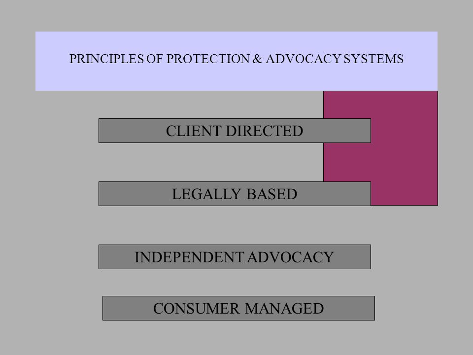 PRINCIPLES OF PROTECTION & ADVOCACY SYSTEMS CLIENT DIRECTED LEGALLY BASED INDEPENDENT ADVOCACY CONSUMER MANAGED