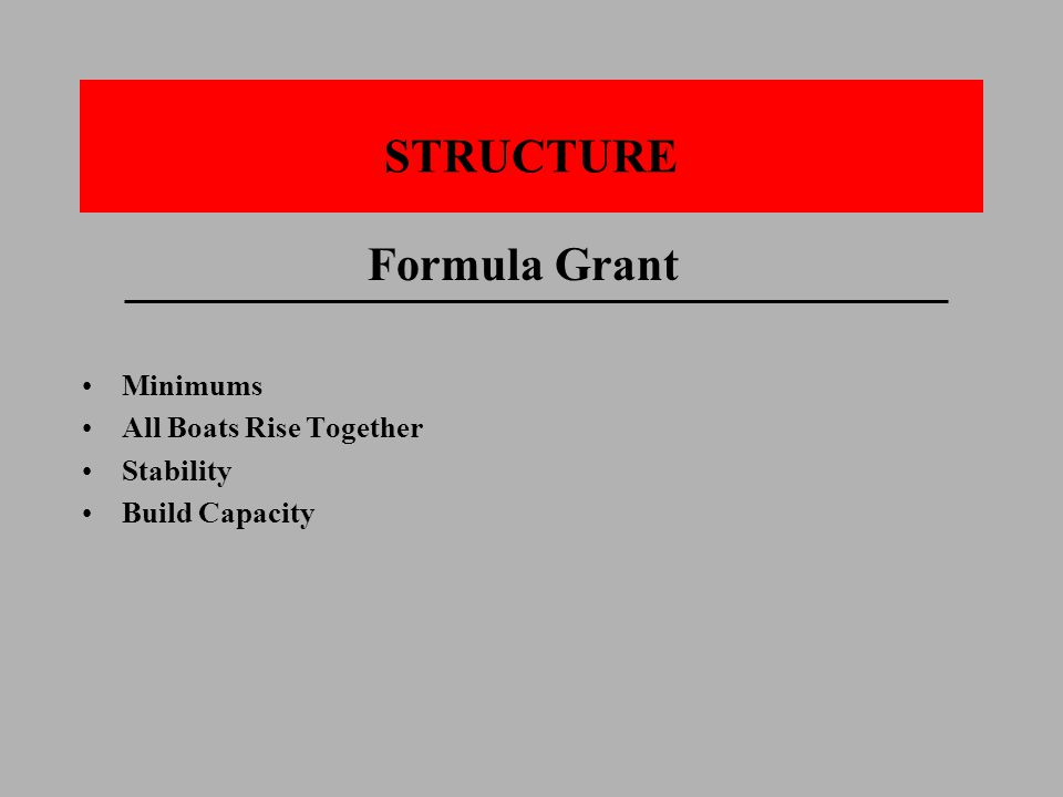 STRUCTURE Formula Grant Minimums All Boats Rise Together Stability Build Capacity