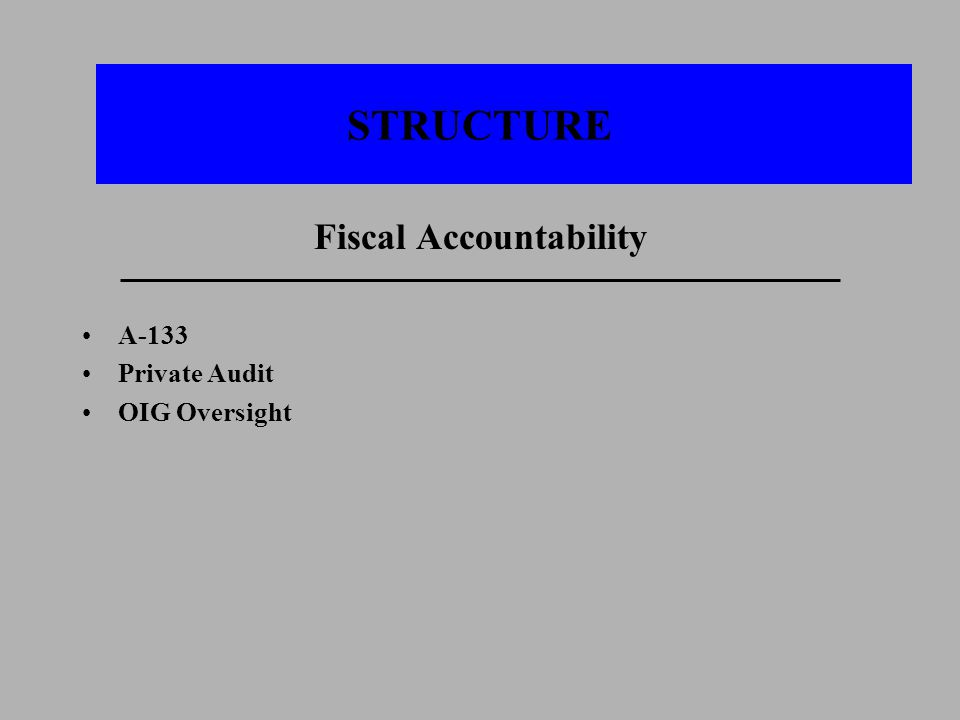 STRUCTURE Fiscal Accountability A-133 Private Audit OIG Oversight
