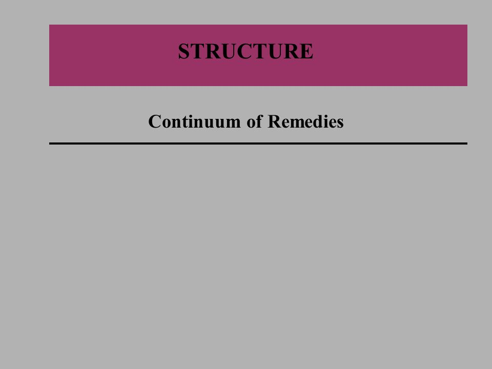 STRUCTURE Continuum of Remedies