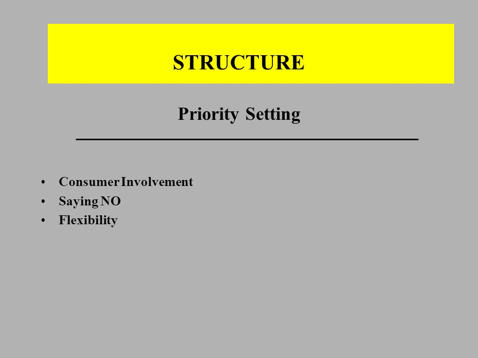 STRUCTURE Priority Setting Consumer Involvement Saying NO Flexibility