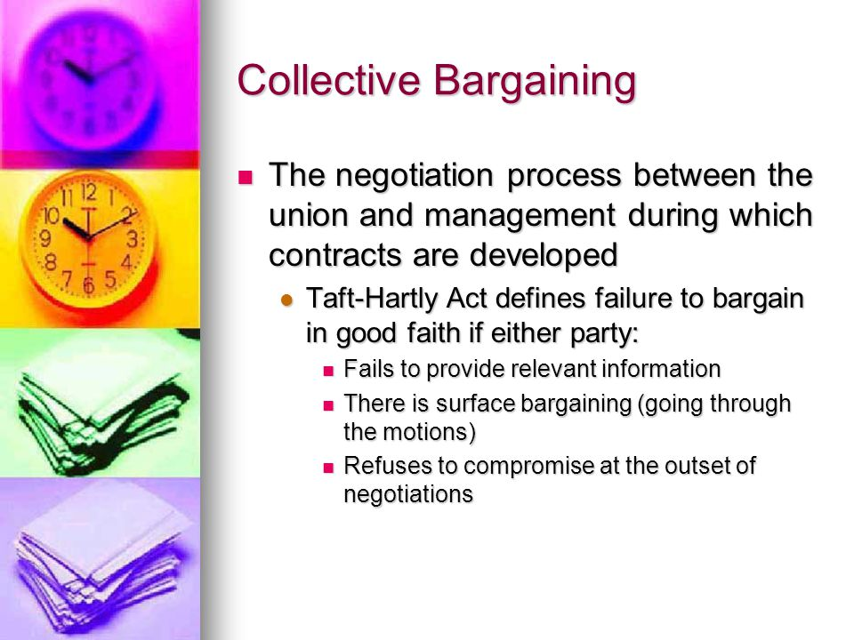 Collective Bargaining The negotiation process between the union and management during which contracts are developed The negotiation process between th