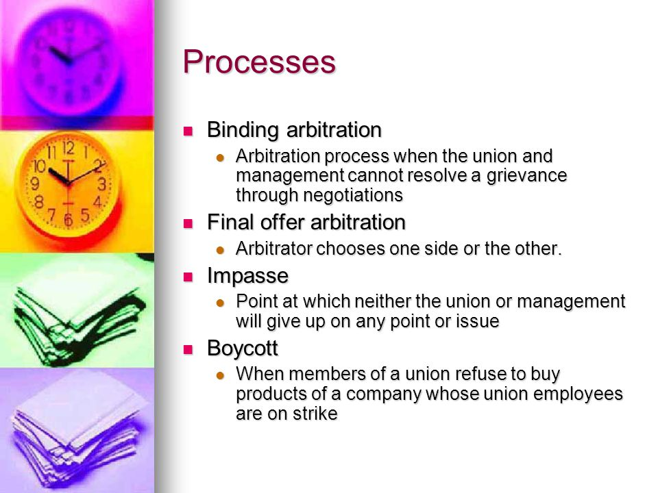 Processes Binding arbitration Binding arbitration Arbitration process when the union and management cannot resolve a grievance through negotiations Ar