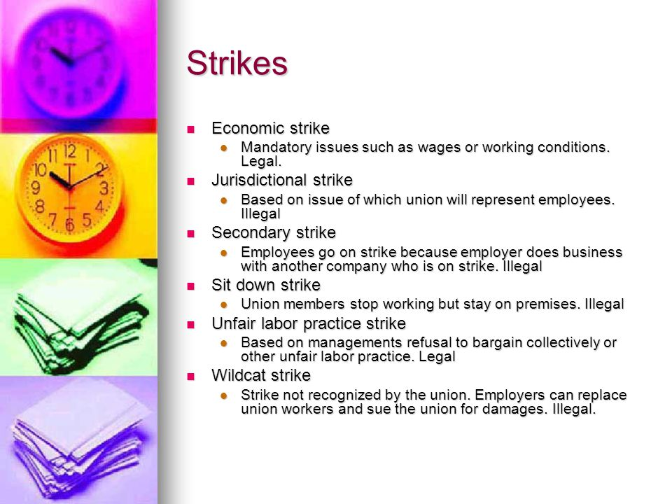 Strikes Economic strike Economic strike Mandatory issues such as wages or working conditions.