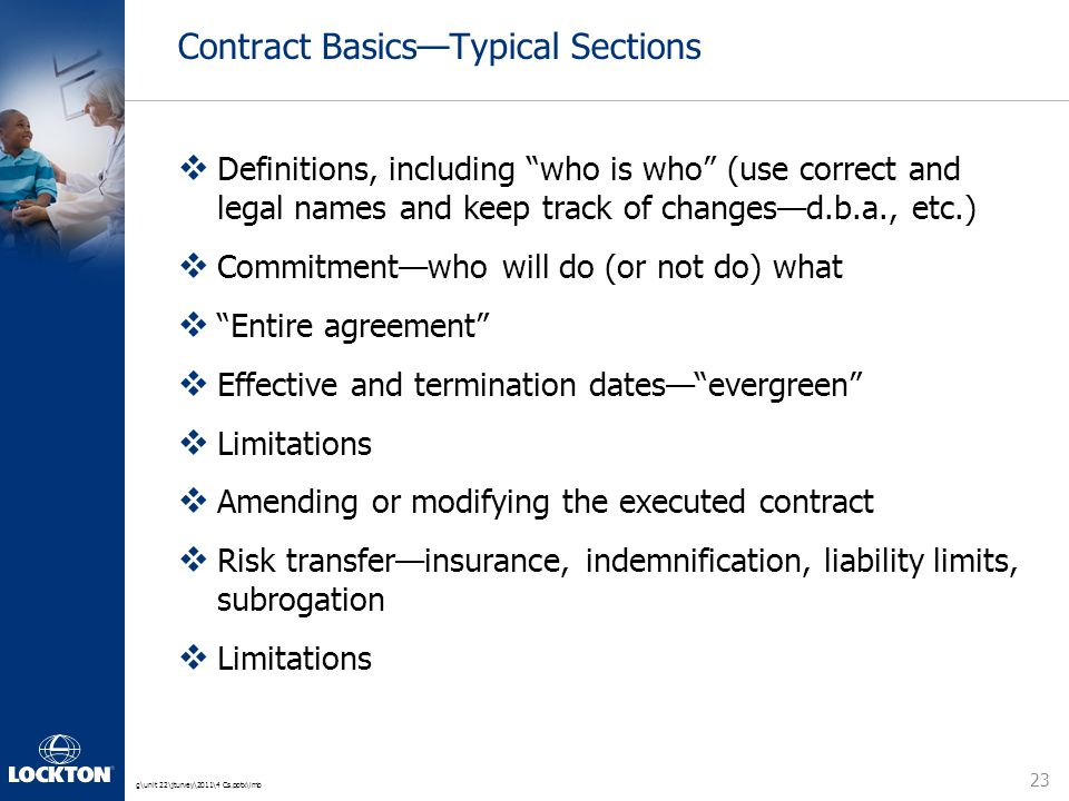 "g\unit 22\jturvey\2011\4 Cs.pptx\lmb Contract Basics—Typical Sections  Definitions, including ""who is who"" (use correct and legal names and keep trac"