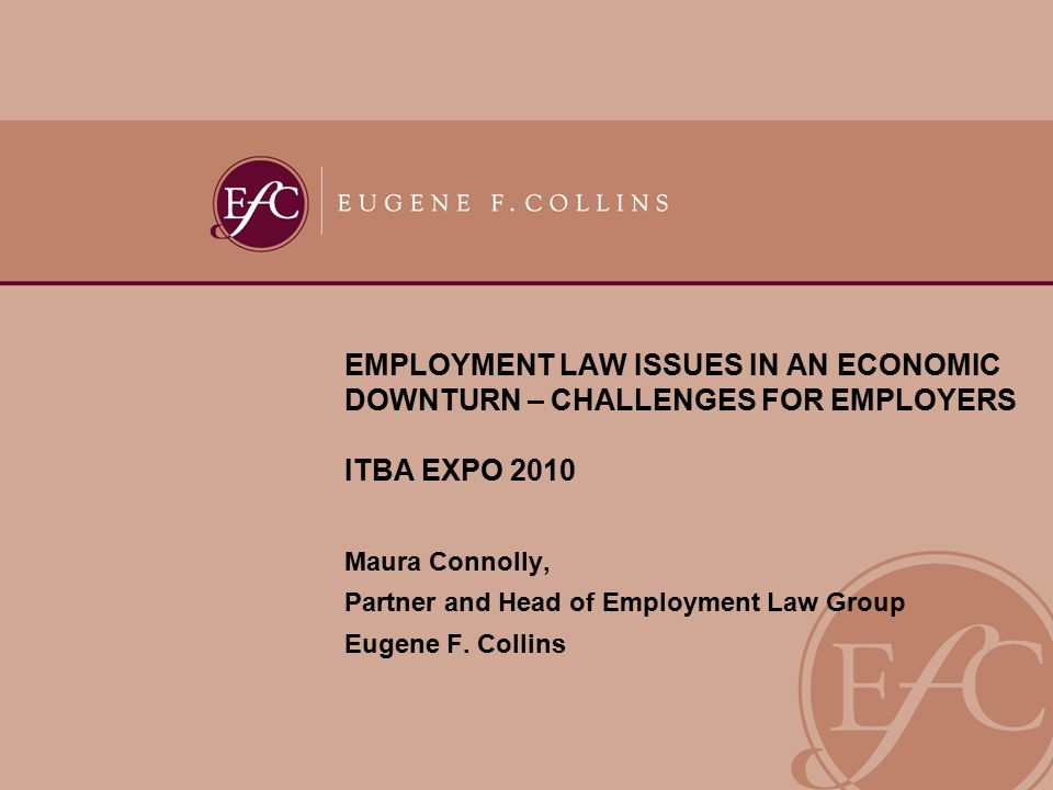 EMPLOYMENT LAW ISSUES IN AN ECONOMIC DOWNTURN – CHALLENGES FOR EMPLOYERS ITBA EXPO 2010 Maura Connolly, Partner and Head of Employment Law Group Eugene F.