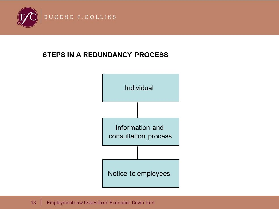 13 Employment Law Issues in an Economic Down Turn STEPS IN A REDUNDANCY PROCESS Individual Information and consultation process Notice to employees