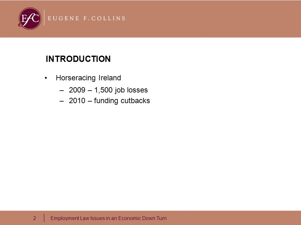 2 Employment Law Issues in an Economic Down Turn INTRODUCTION Horseracing Ireland –2009 – 1,500 job losses –2010 – funding cutbacks