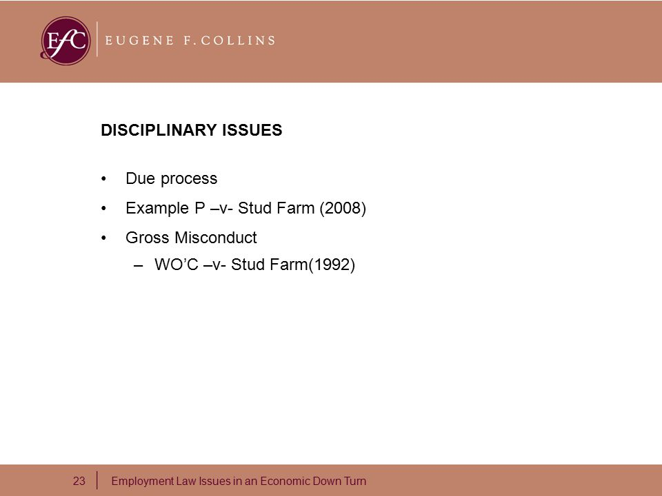 23 Employment Law Issues in an Economic Down Turn DISCIPLINARY ISSUES Due process Example P –v- Stud Farm (2008) Gross Misconduct –WO'C –v- Stud Farm(1992)