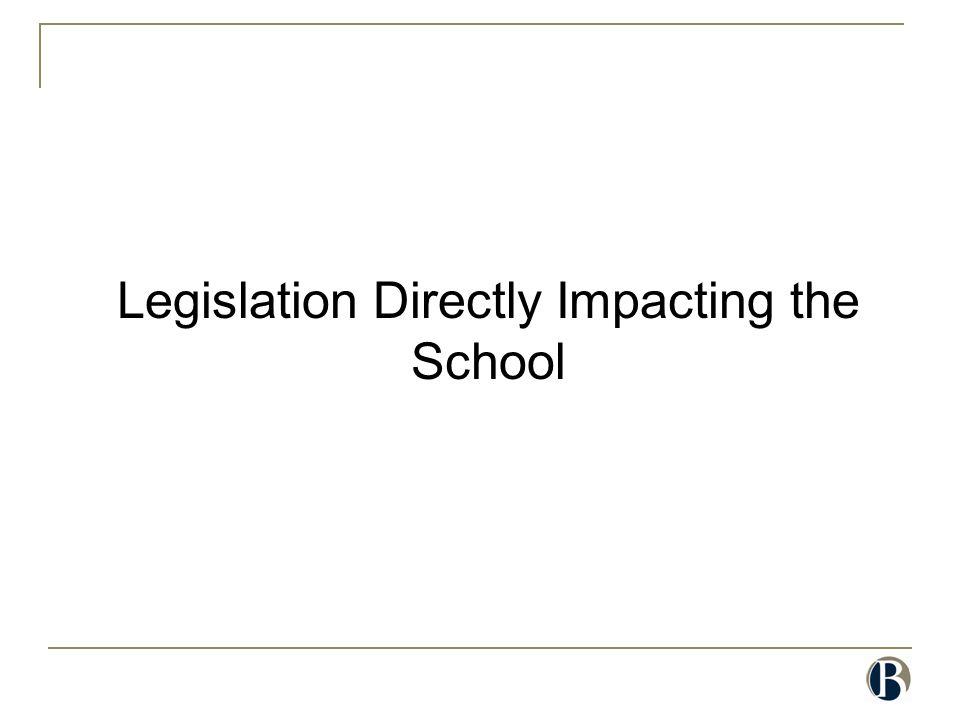 Legislation Directly Impacting the School