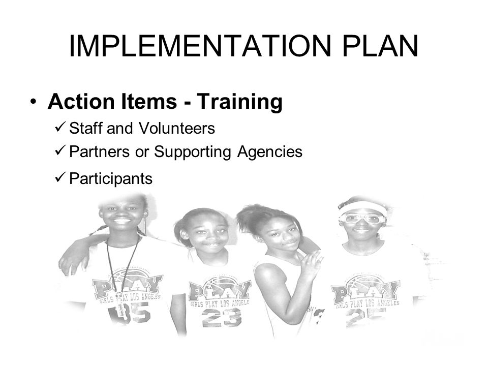 IMPLEMENTATION PLAN Action Items - Training Staff and Volunteers Partners or Supporting Agencies Participants