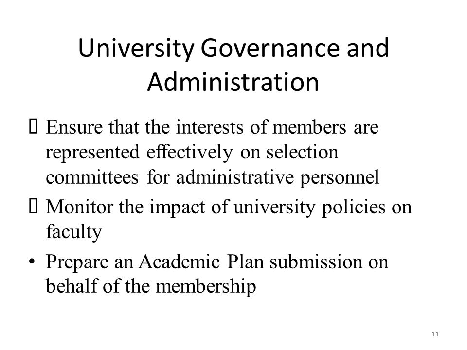 University Governance and Administration  Ensure that the interests of members are represented effectively on selection committees for administrative personnel  Monitor the impact of university policies on faculty Prepare an Academic Plan submission on behalf of the membership 11