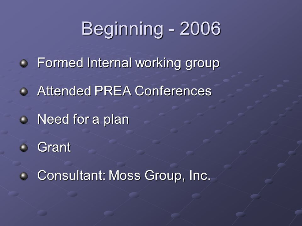 Beginning Formed Internal working group Attended PREA Conferences Need for a plan Grant Consultant: Moss Group, Inc.