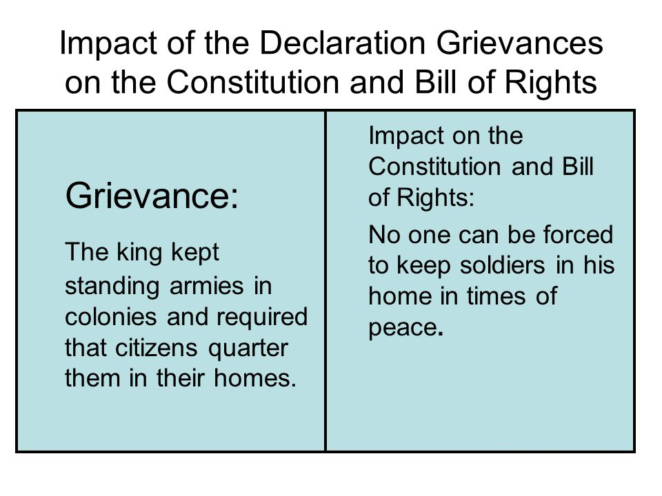 Impact of the Declaration Grievances on the Constitution and Bill of Rights Grievance: The king kept standing armies in colonies and required that citizens quarter them in their homes.