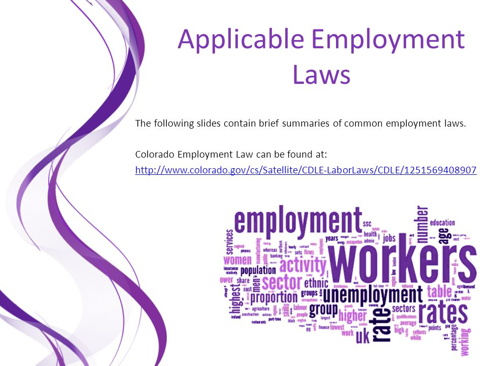 Applicable Employment Laws The following slides contain brief summaries of common employment laws. Colorado Employment Law can be found at: http://www