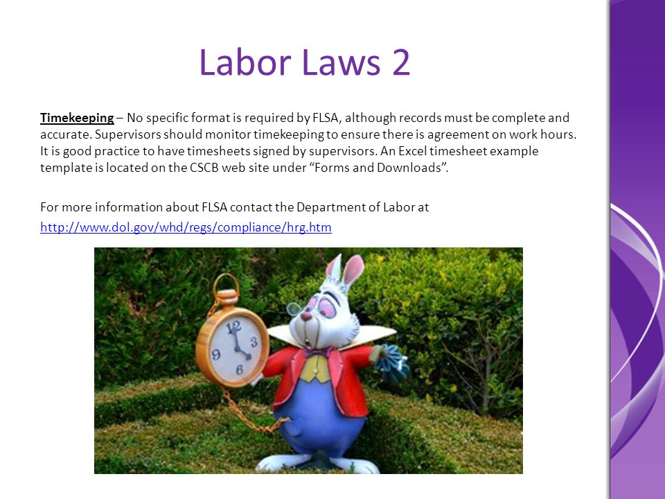 Labor Laws 2 Timekeeping – No specific format is required by FLSA, although records must be complete and accurate. Supervisors should monitor timekeep