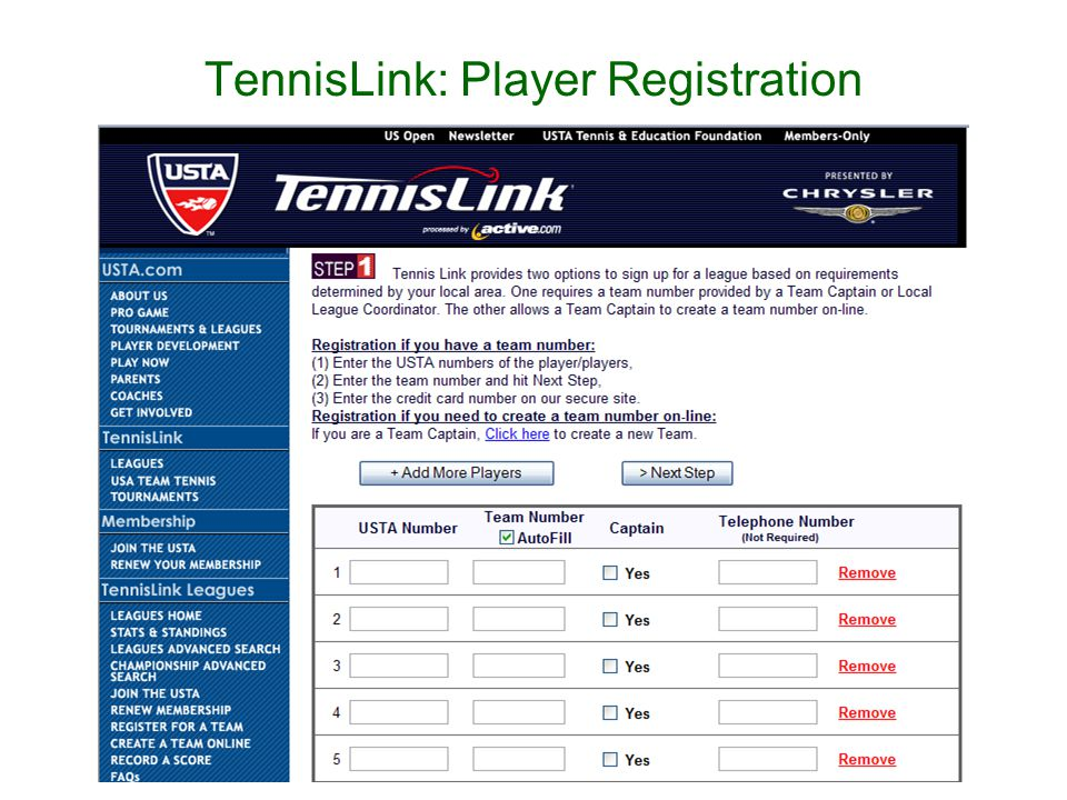 TennisLink: Player Registration