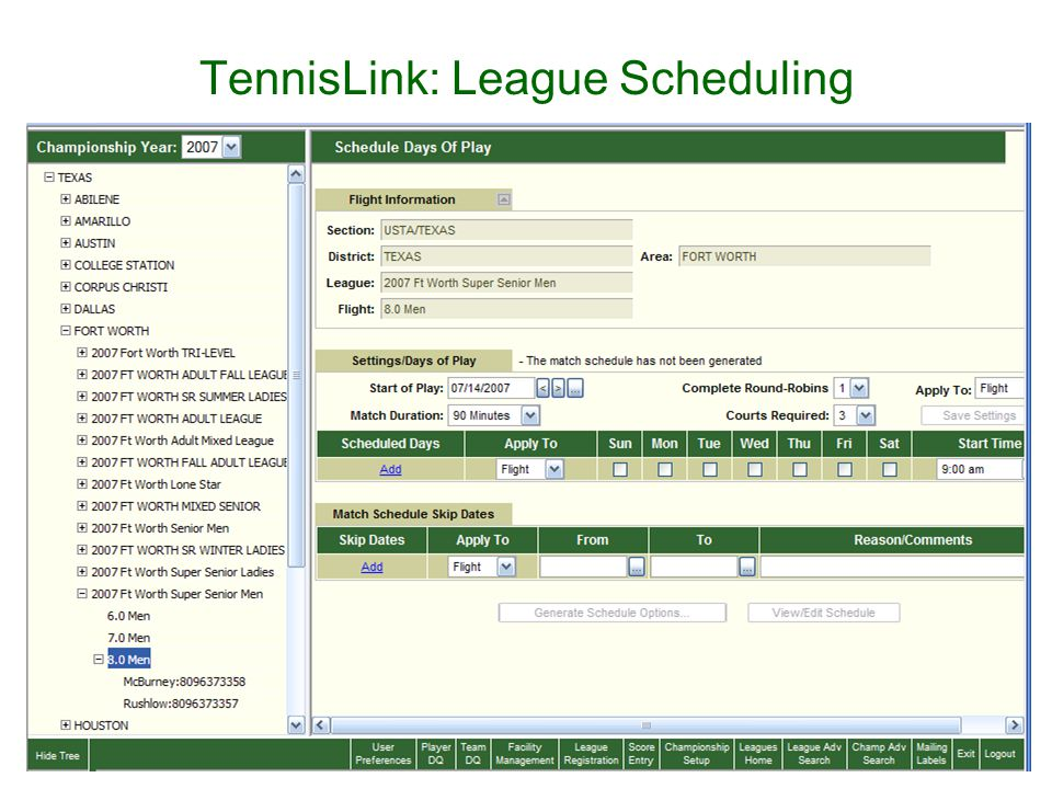 TennisLink: League Scheduling