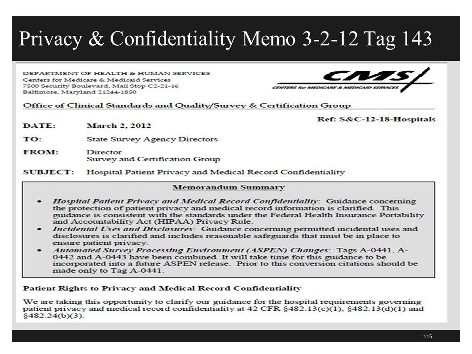 Privacy & Confidentiality Memo 3-2-12 Tag 143 116