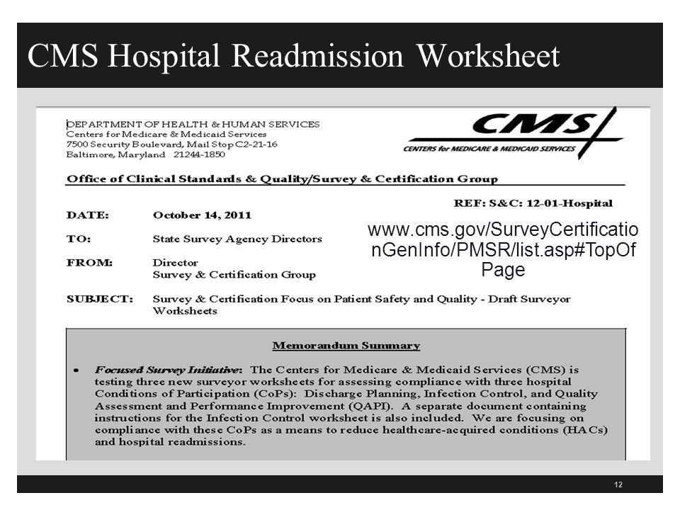 CMS Hospital Readmission Worksheet 12 www.cms.gov/SurveyCertificatio nGenInfo/PMSR/list.asp#TopOf Page