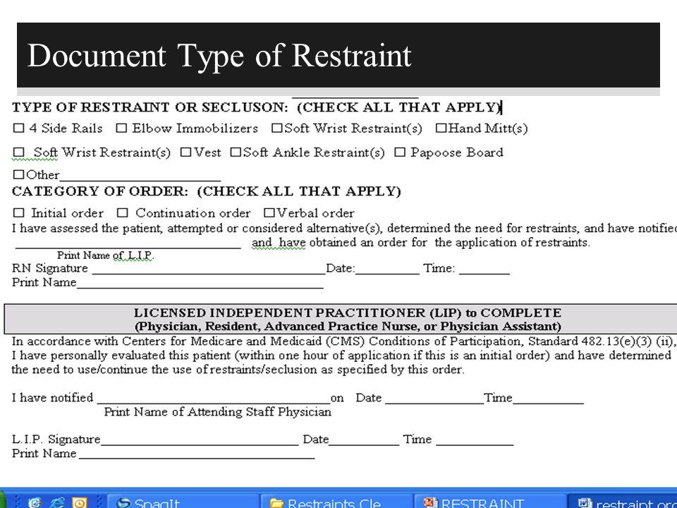 191 Document Type of Restraint
