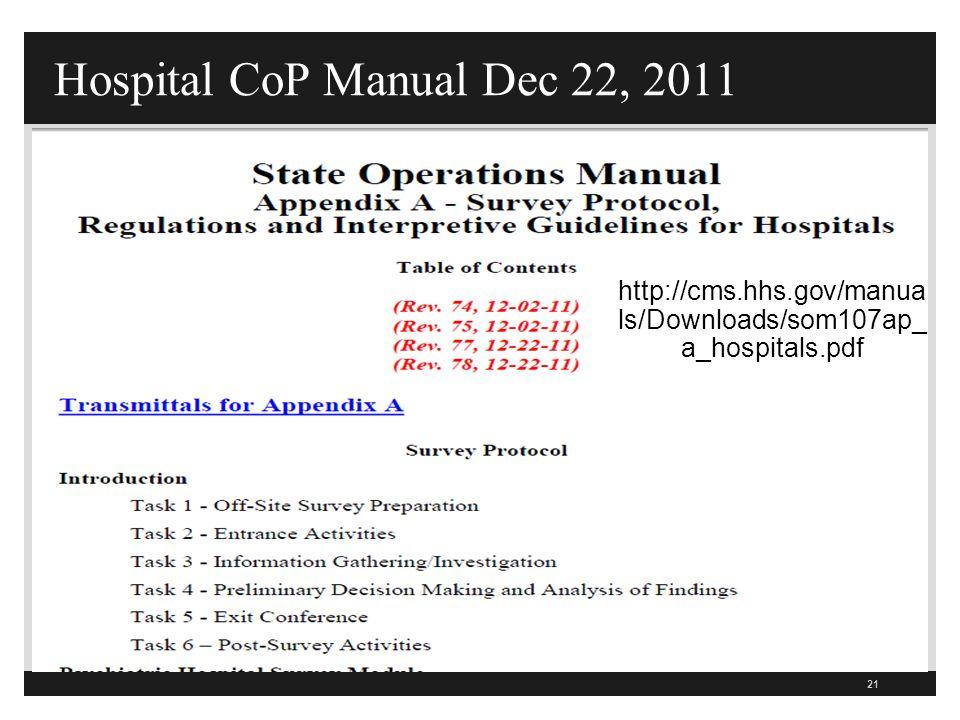 Hospital CoP Manual Dec 22, 2011 21 http://cms.hhs.gov/manua ls/Downloads/som107ap_ a_hospitals.pdf
