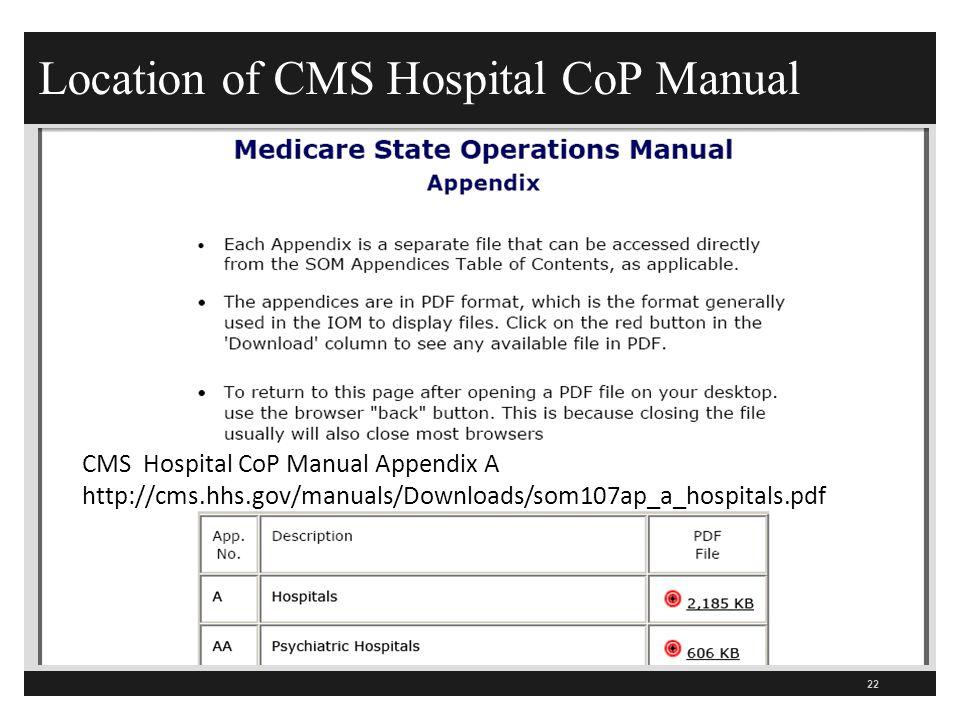 Location of CMS Hospital CoP Manual 22 CMS Hospital CoP Manual Appendix A http://cms.hhs.gov/manuals/Downloads/som107ap_a_hospitals.pdf
