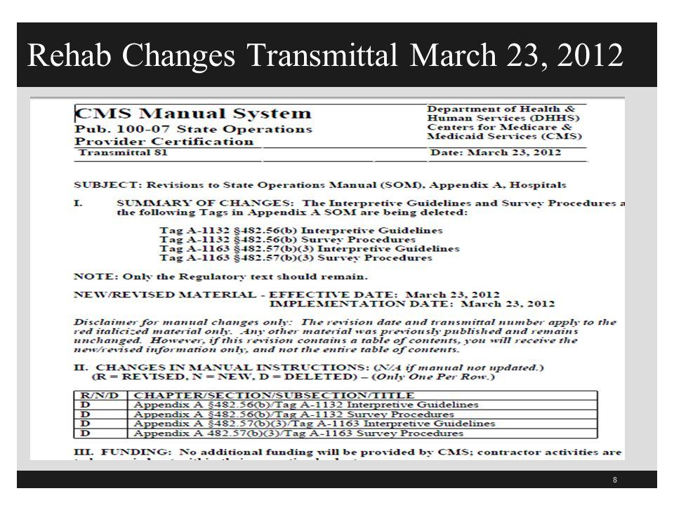 Rehab Changes Transmittal March 23, 2012 8