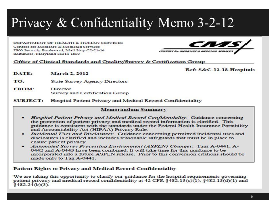 Privacy & Confidentiality Memo 3-2-12 9