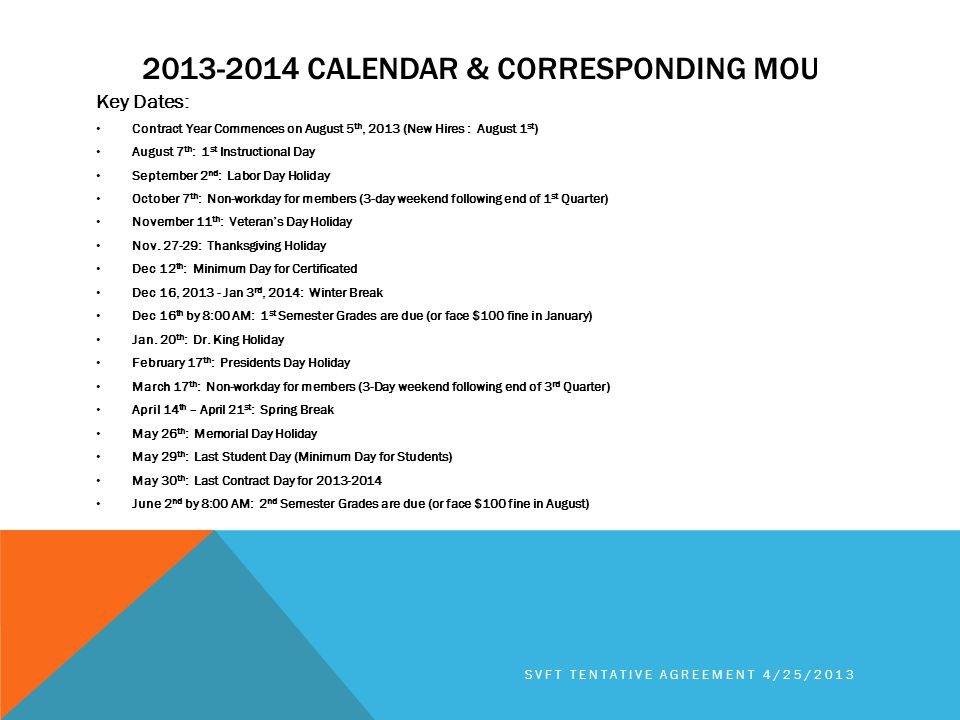2013-2014 CALENDAR & CORRESPONDING MOU Key Dates: Contract Year Commences on August 5 th, 2013 (New Hires : August 1 st ) August 7 th : 1 st Instructional Day September 2 nd : Labor Day Holiday October 7 th : Non-workday for members (3-day weekend following end of 1 st Quarter) November 11 th : Veteran's Day Holiday Nov.