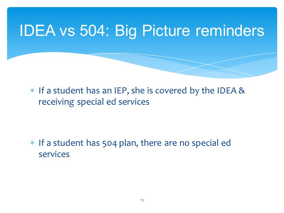  If a student has an IEP, she is covered by the IDEA & receiving special ed services  If a student has 504 plan, there are no special ed services 15 IDEA vs 504: Big Picture reminders