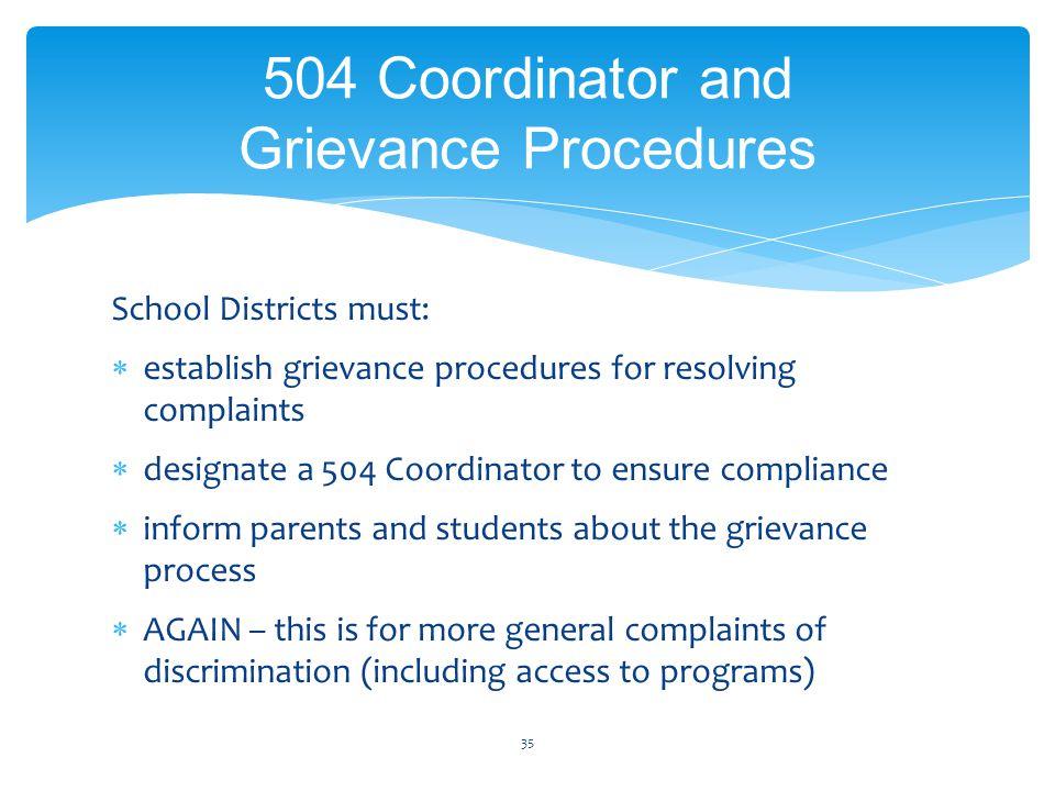 School Districts must:  establish grievance procedures for resolving complaints  designate a 504 Coordinator to ensure compliance  inform parents a