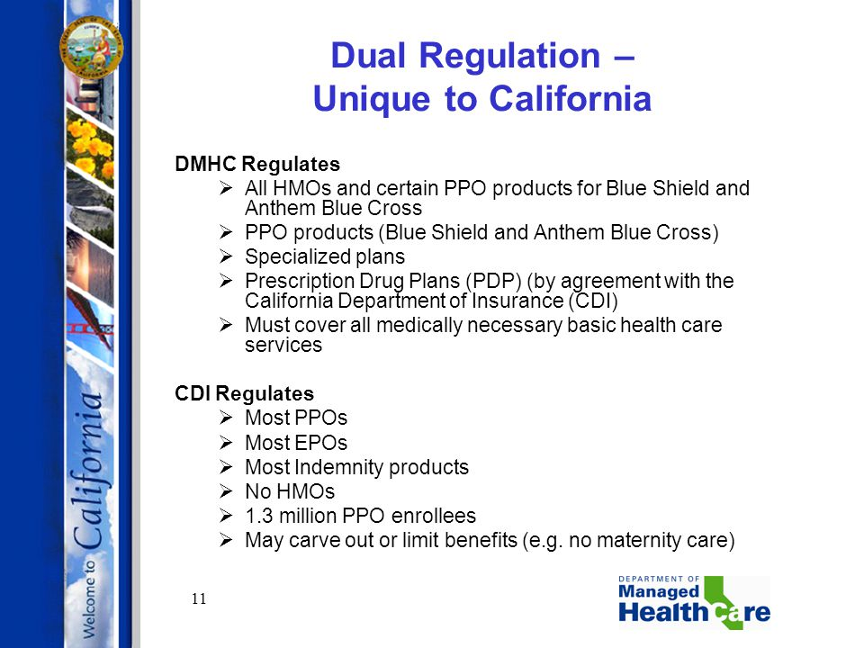 11 Dual Regulation – Unique to California DMHC Regulates  All HMOs and certain PPO products for Blue Shield and Anthem Blue Cross  PPO products (Blu