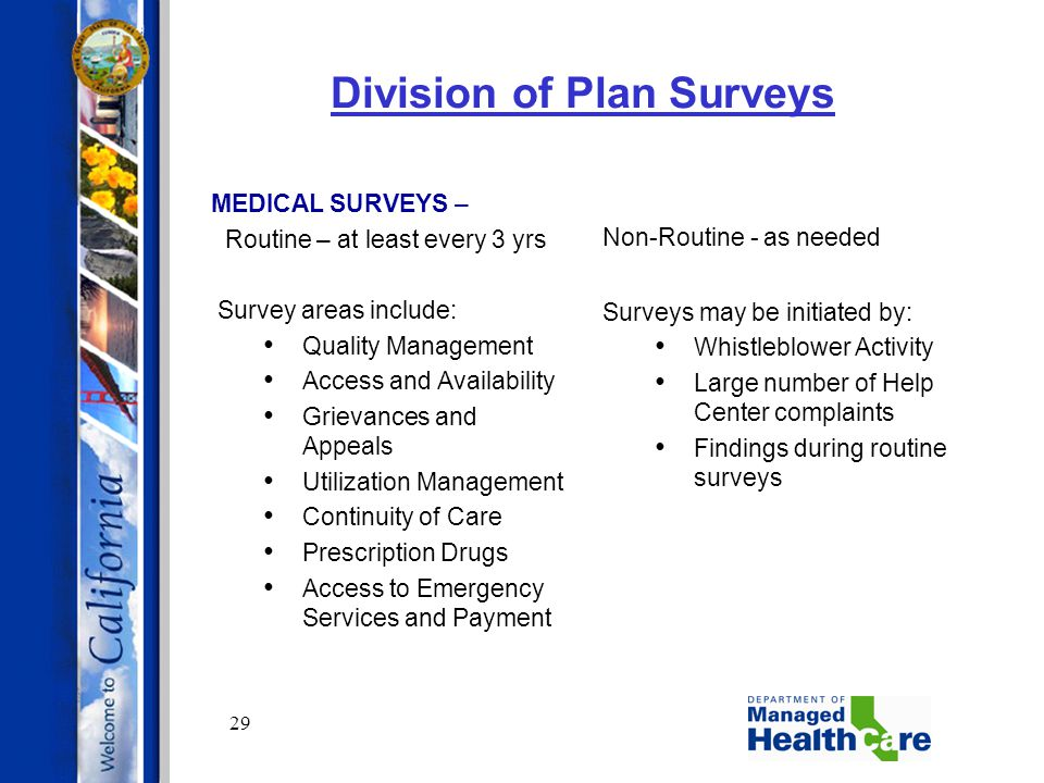 29 Division of Plan Surveys MEDICAL SURVEYS – Routine – at least every 3 yrs Survey areas include: Quality Management Access and Availability Grievanc